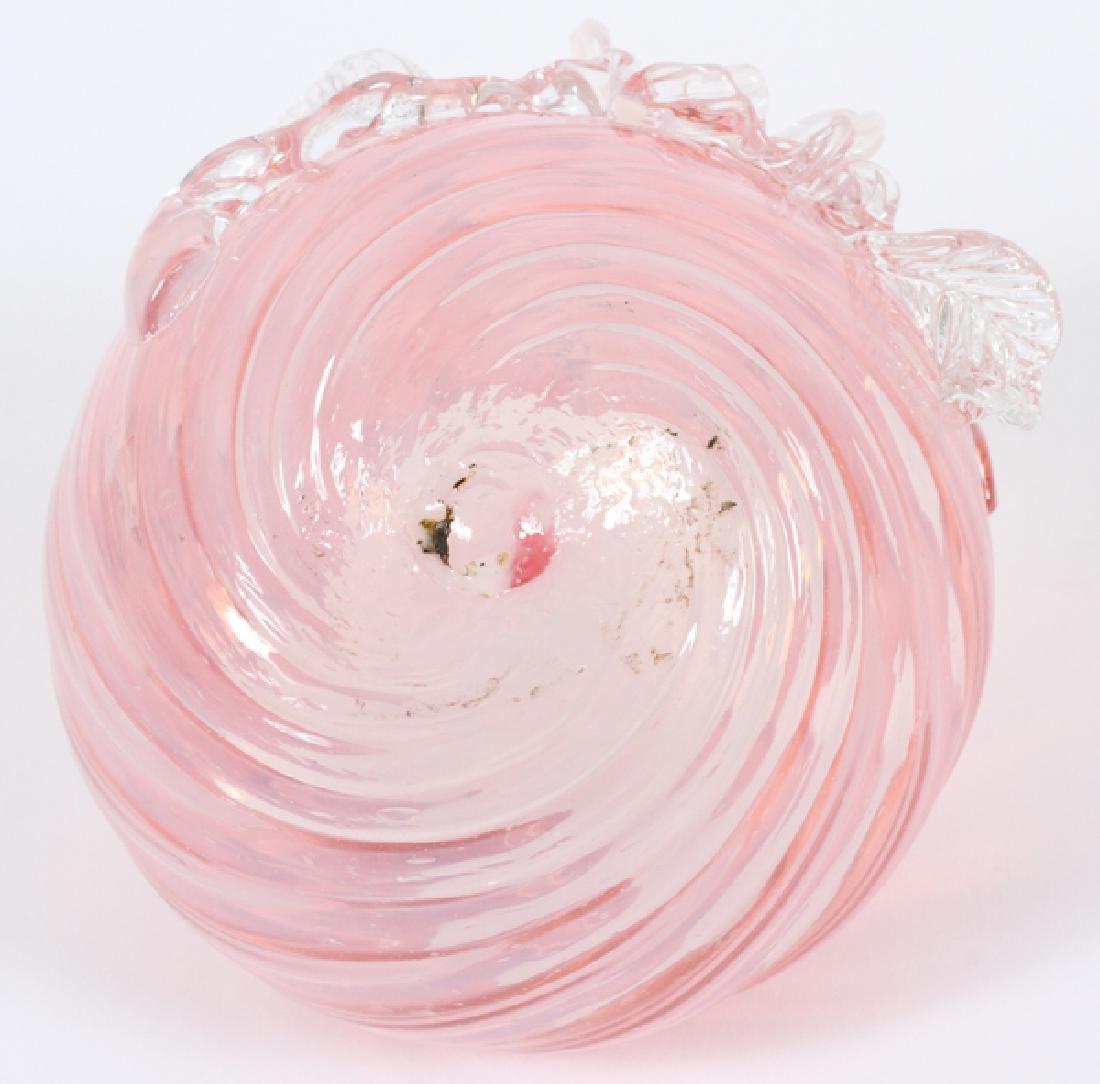 "PINK GLASS ROSE BOWL H 4"" DIA 5"" - 3"
