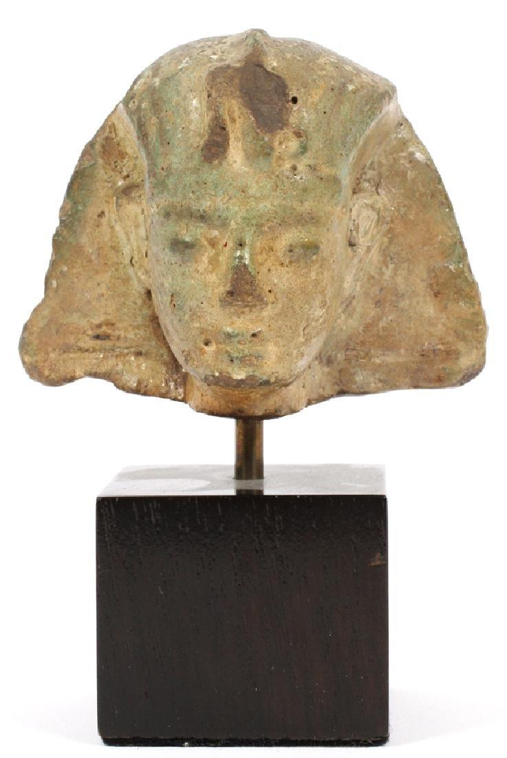 EGYPTIAN GLAZED FAIENCE HEAD OF A KING