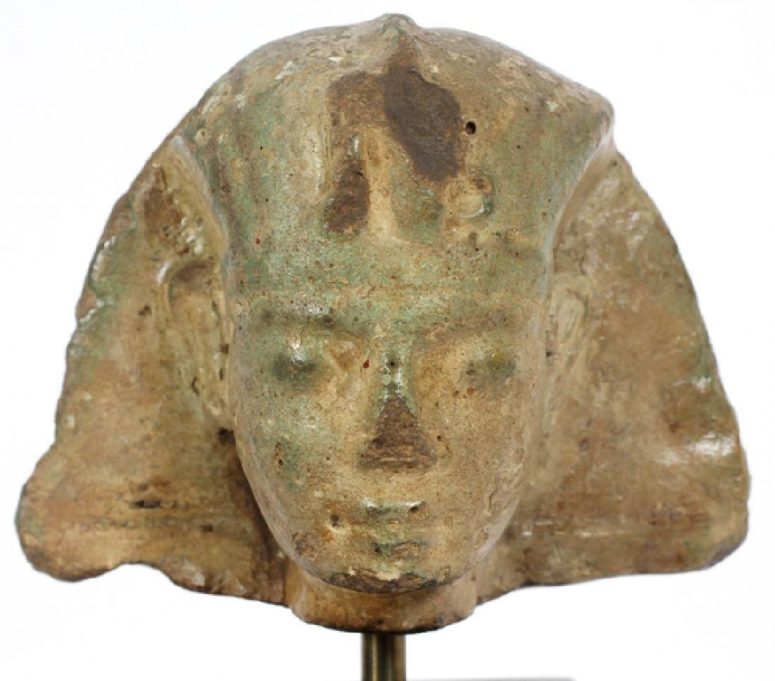 EGYPTIAN GLAZED FAIENCE HEAD OF A KING - 5