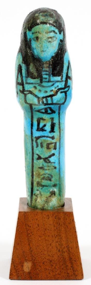 EGYPTIAN TURQUOISE GLAZED FAIENCE USHABTI