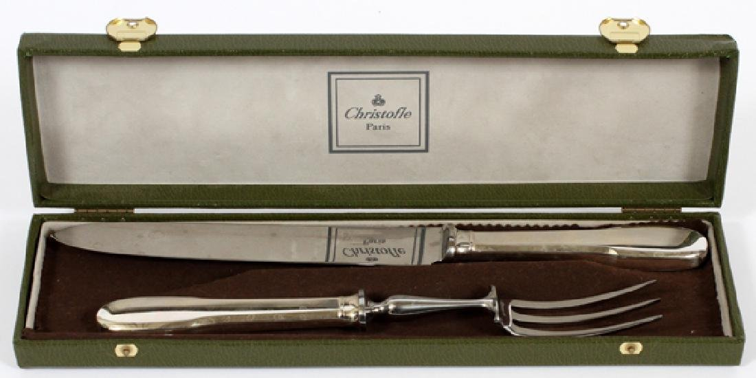 CHRISTOFLE SILVER PLATE CARVING KNIFE & FORK - 2