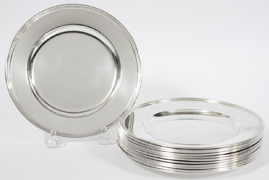 AMERICAN STERLING SILVER BUTTER PLATES, SET OF 12