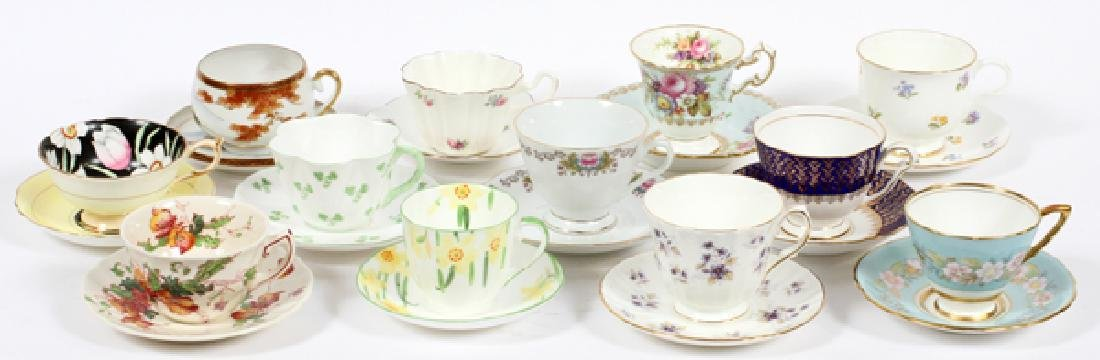 TEA CUPS & SAUCERS, SET OF 12