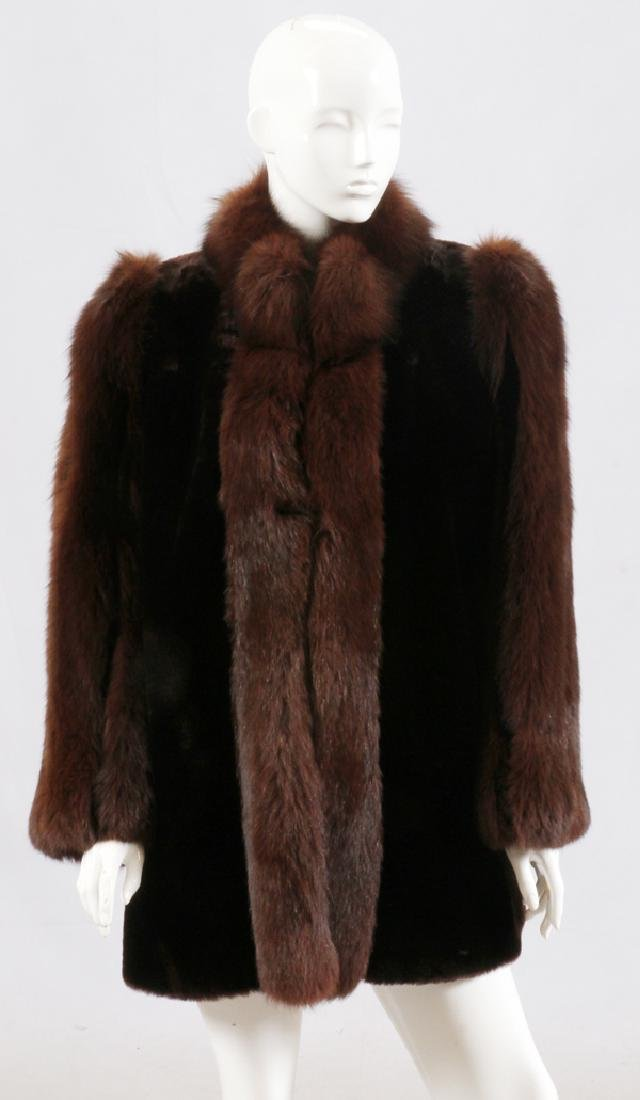 POLISHED SHEARLING WITH FOX TRIM JACKET