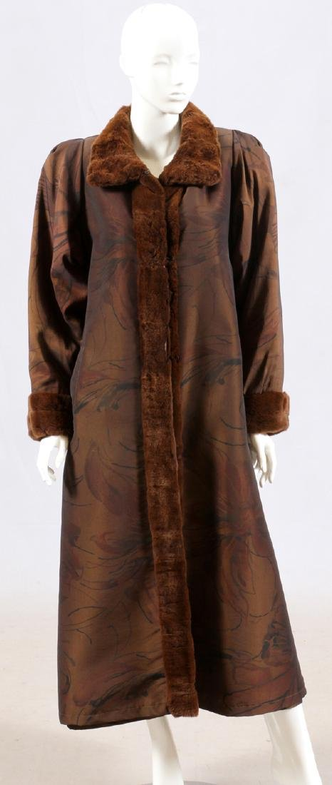 LONG FABRIC COAT, FUR TRIM