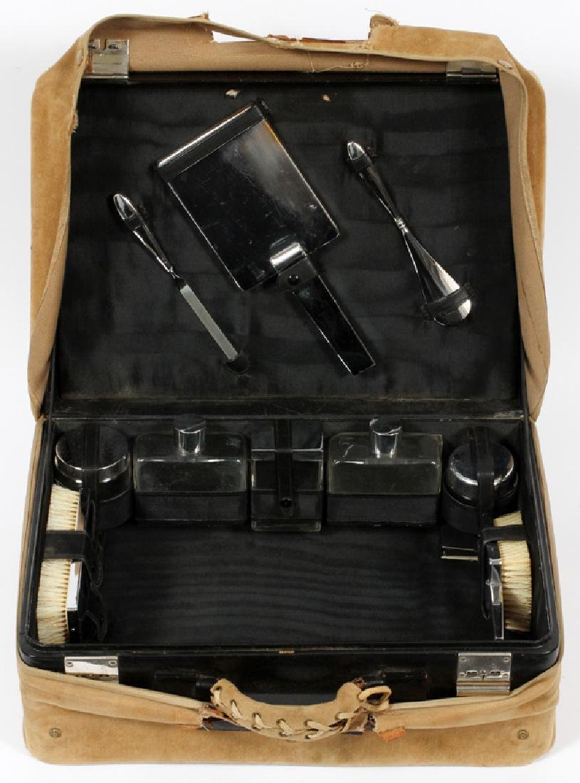 LEATHER CASED, TRAVEL VANITY SET, C1950, 12 PCS.