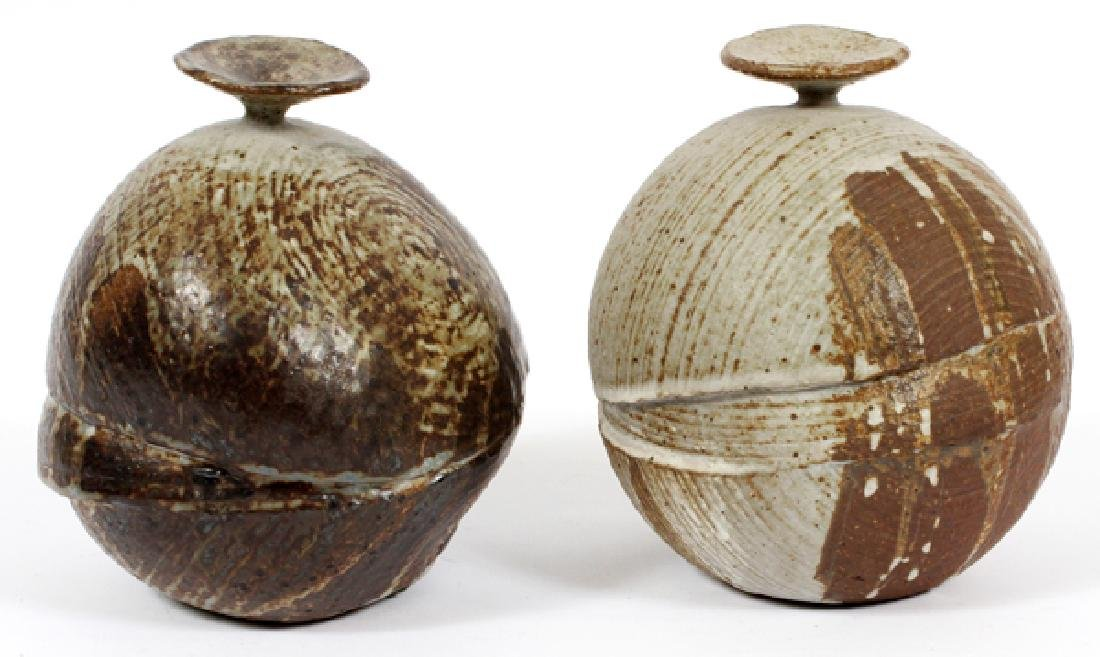 BULBOUS POTTERY VASES, TWO, H 6''
