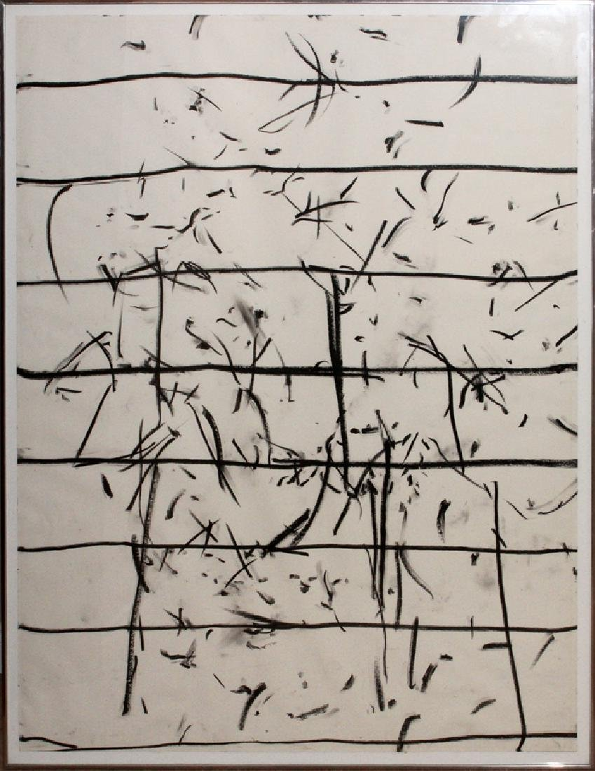 GORDON NEWTON BLACK/WHITE CRAYON DRAWING C. 1970