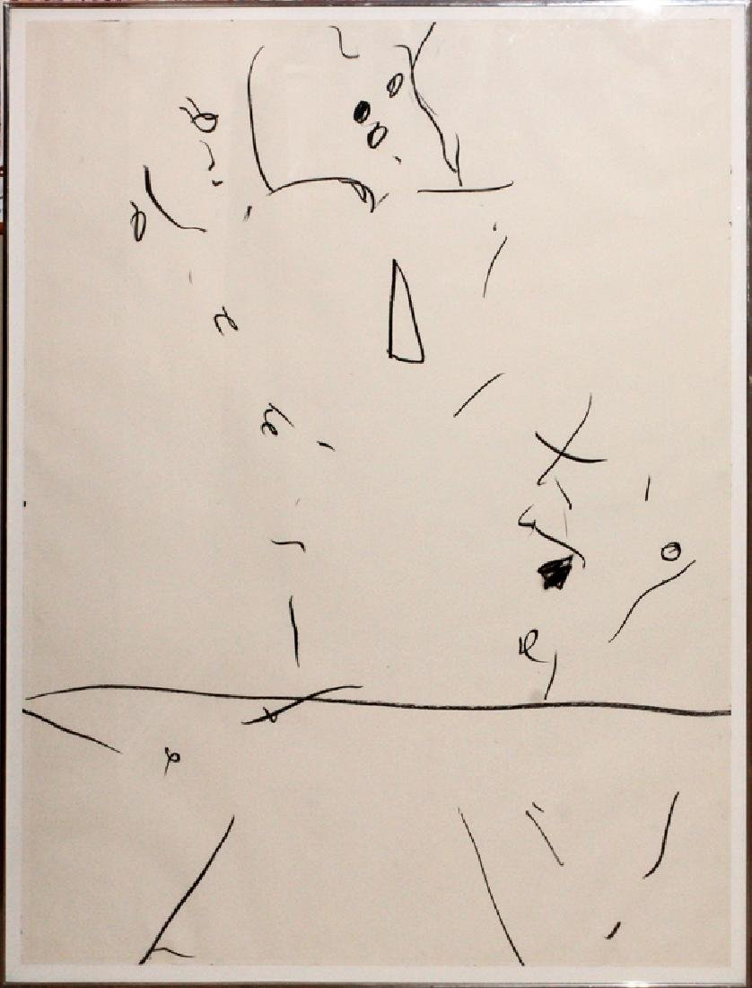 GORDON NEWTON BLACK/WHITE CRAYON DRAWING, C. 1970