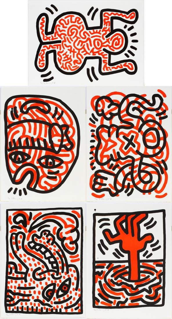 """KEITH HARING COLOR LITHOGRAPHS, """"LUDO"""" 1985"""