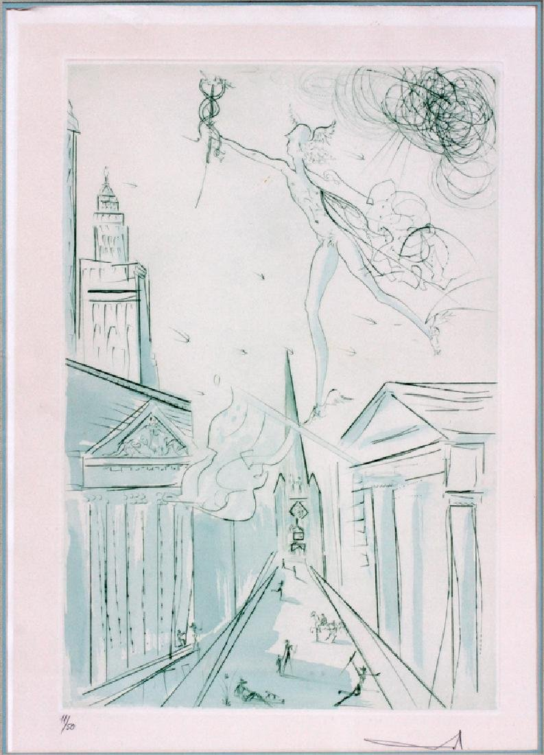 """SALVADOR DALI ETCHING IN GREEN 1972 """"WALL STREET"""""""