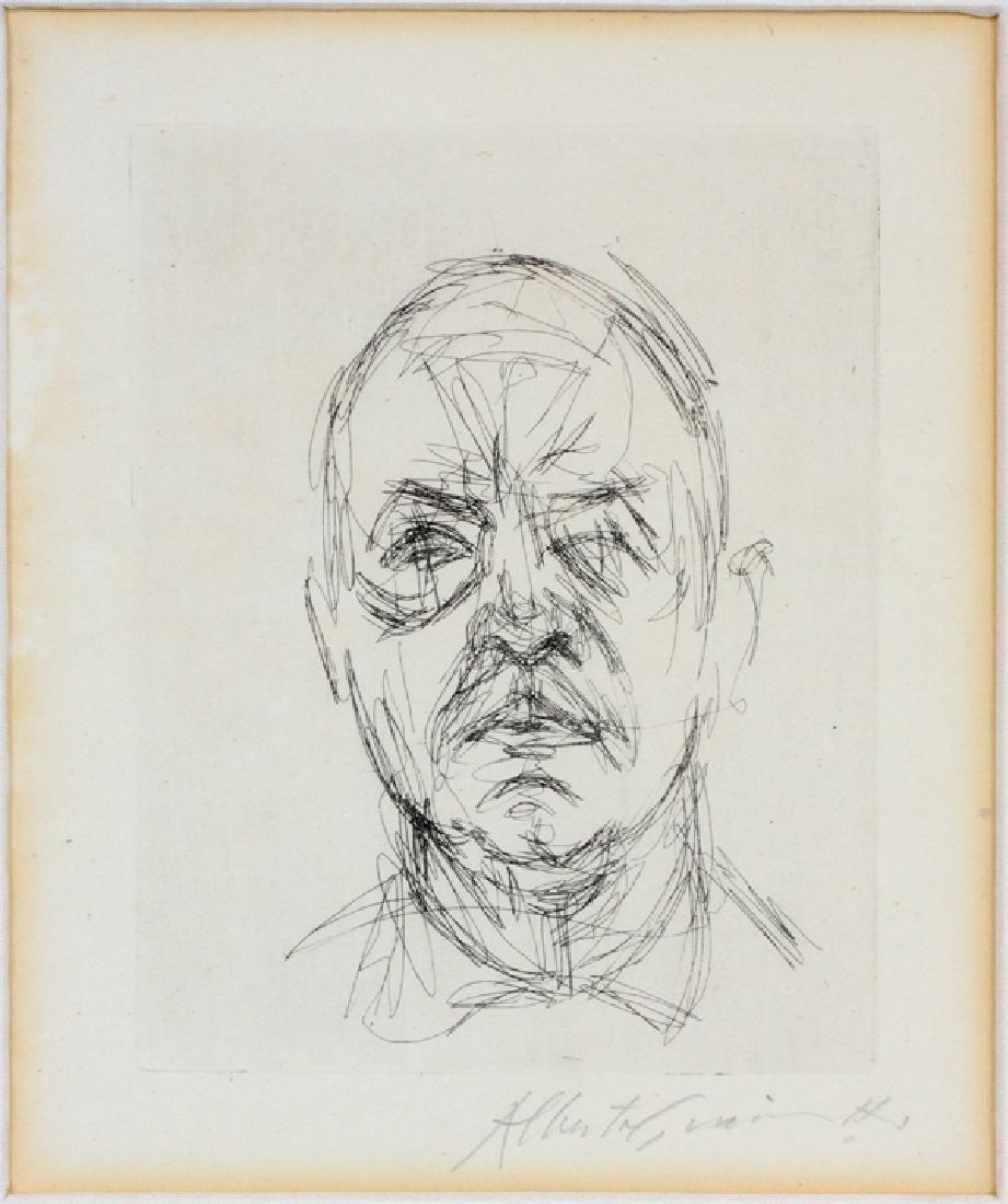 "ALBERTO GIACOMETTI ETCHING 1968 ""HEAD OF A MAN"""