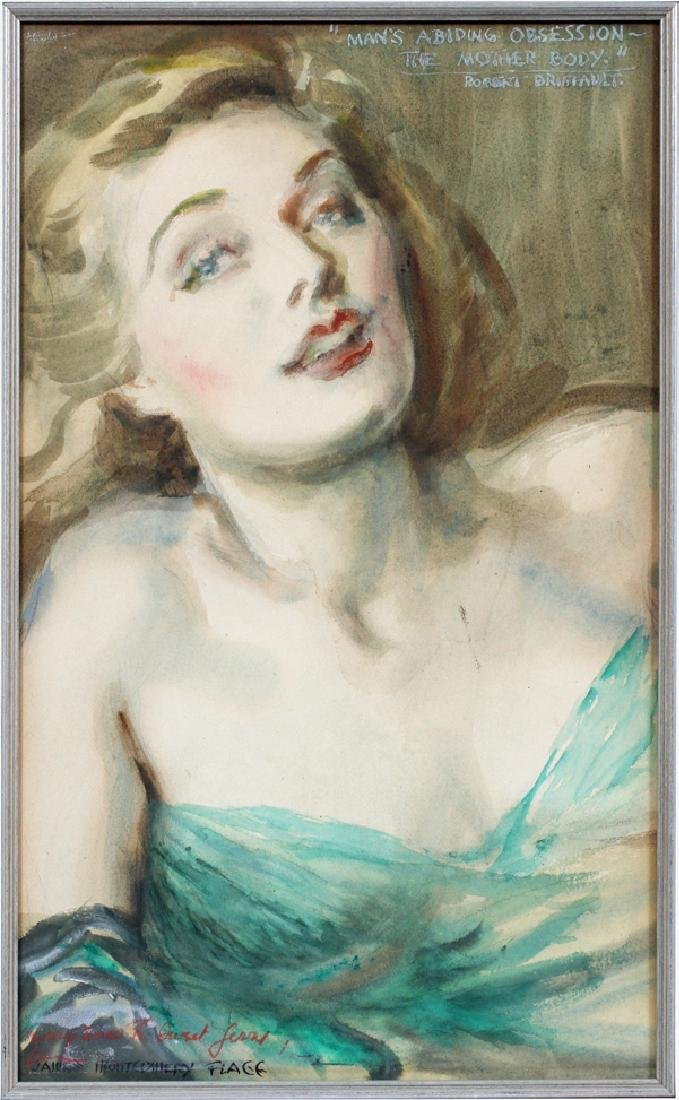 JAMES MONTGOMERY FLAGG WATERCOLOR &CHARCOAL PENCIL