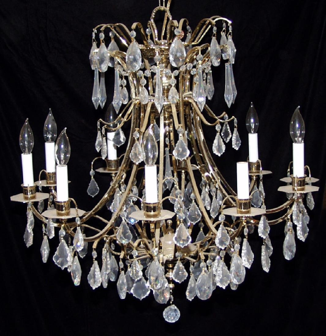 10 LIGHT CRYSTAL AND BRONZE CHANDELIER W 26""