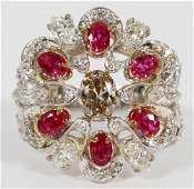 NATURAL DIAMOND, WHITE DIAMOND & RUBY CLUSTER RING