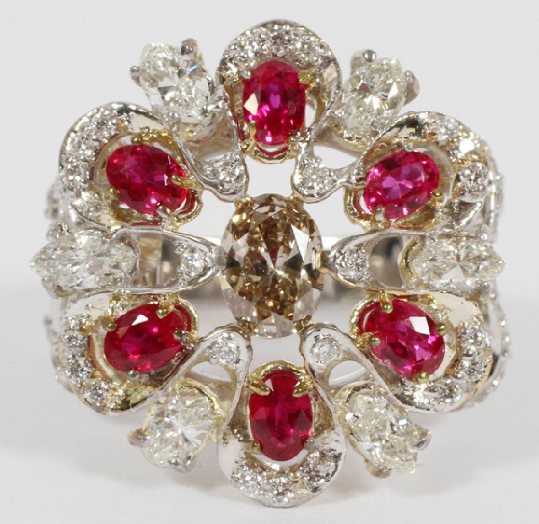 NATURAL DIAMOND, WHITE DIAMOND & RUBY CLUSTER RING