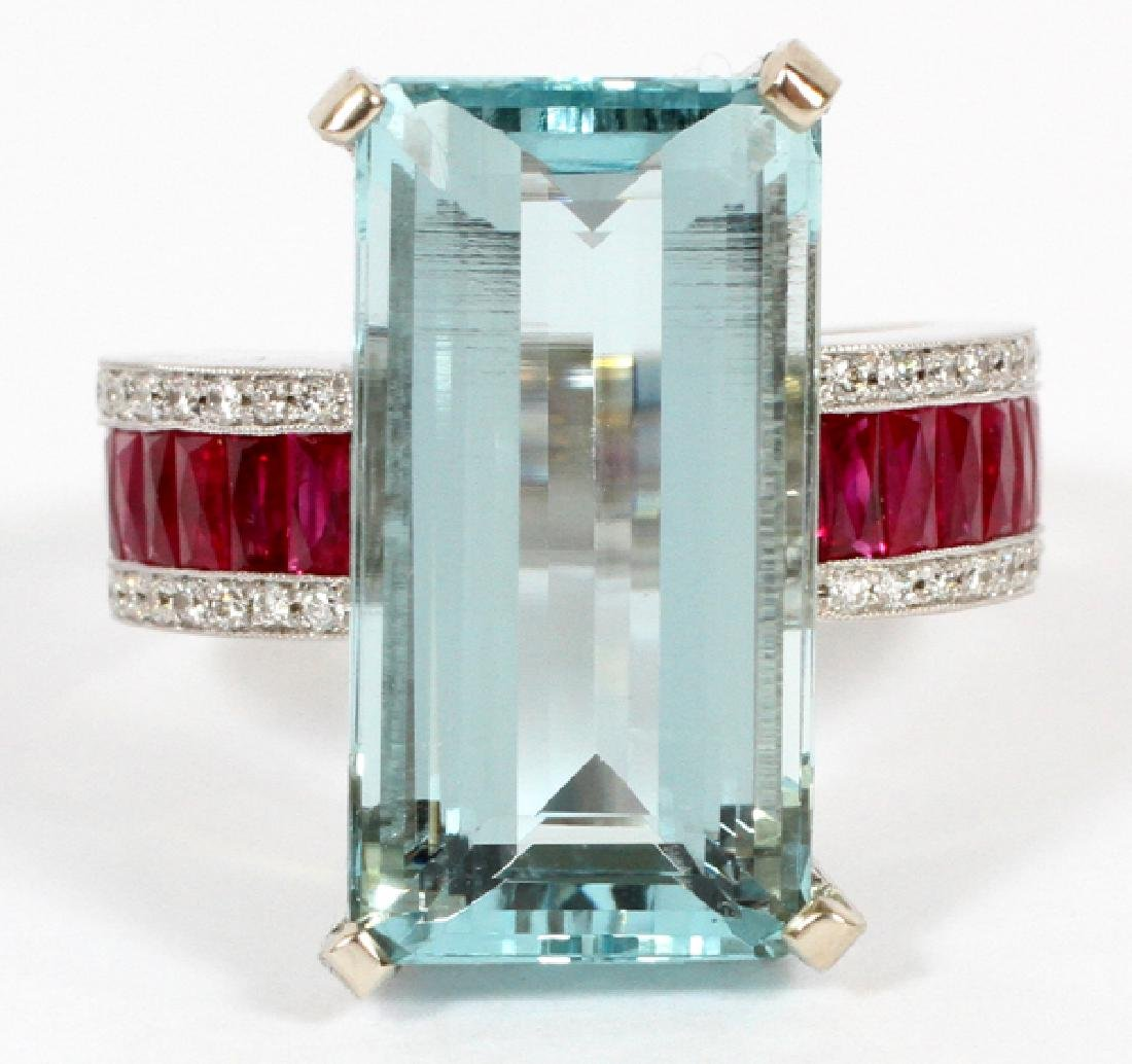 NATURAL AQUAMARINE, RUBY & DIAMOND RING