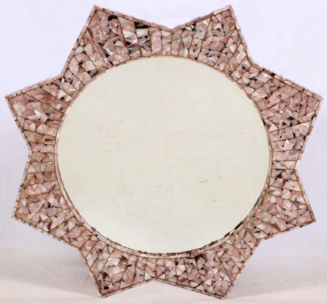 """MOTHER-OF-PEARL INLAY MIRROR, DIA 48"""""""