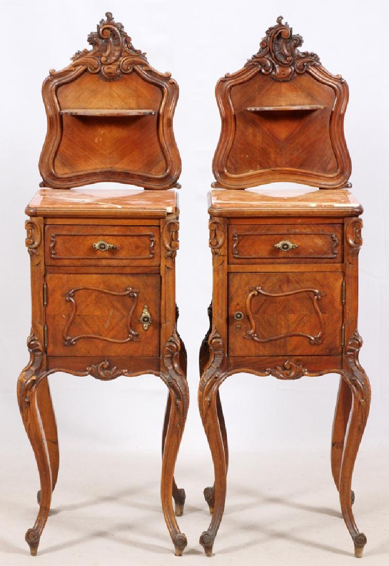 FRENCH LOUIS XV STYLE CARVED WALNUT NIGHTSTANDS