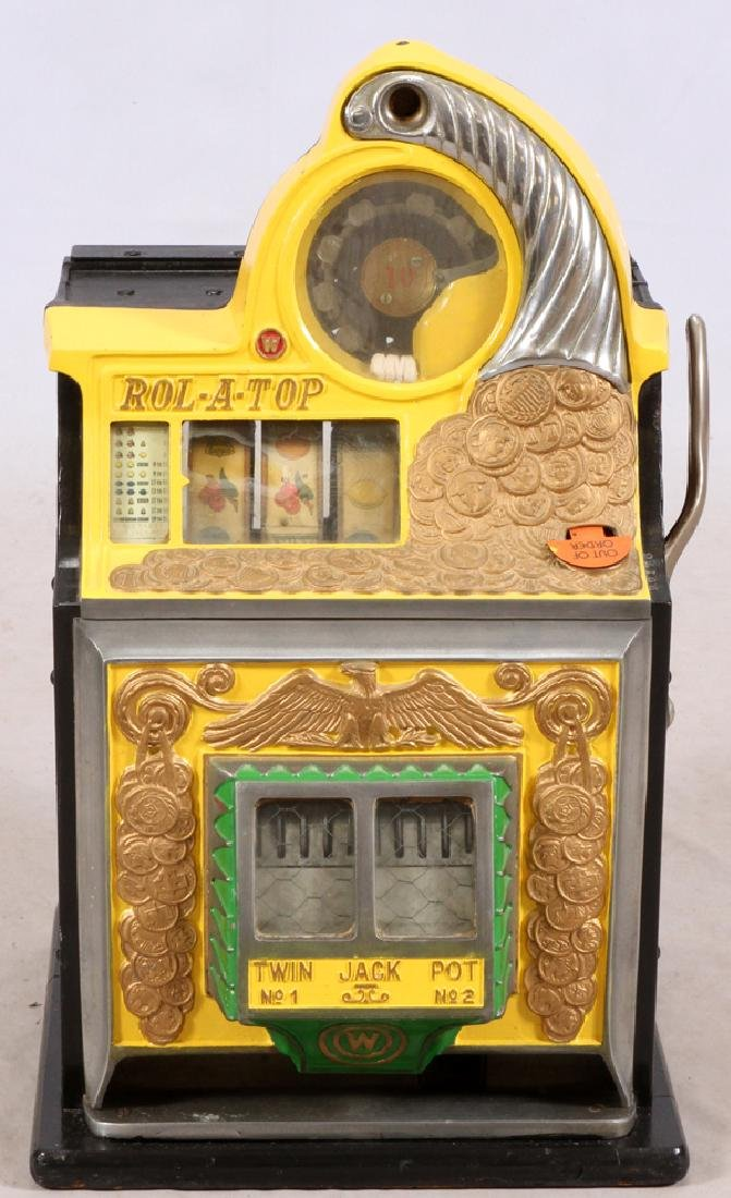 """ROL-A-TOP"" SLOT MACHINE, H 27'', W 15'', L 15''"