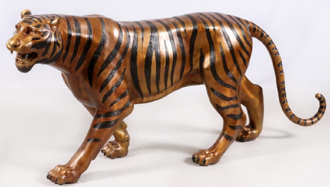 LIFE SIZE BRONZE WALKING TIGER SCULPTURE