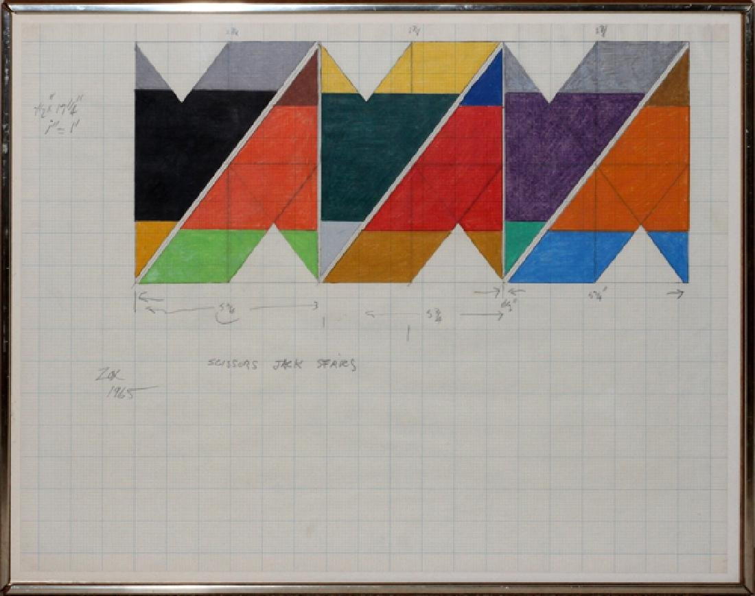 LARRY ZOX WATERCOLOR ON GRAPH PAPER, 1965