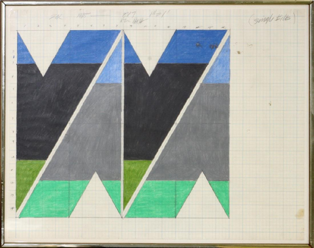 LARRY ZOX MIXED MEDIA DRAWING ON GRAPH PAPER