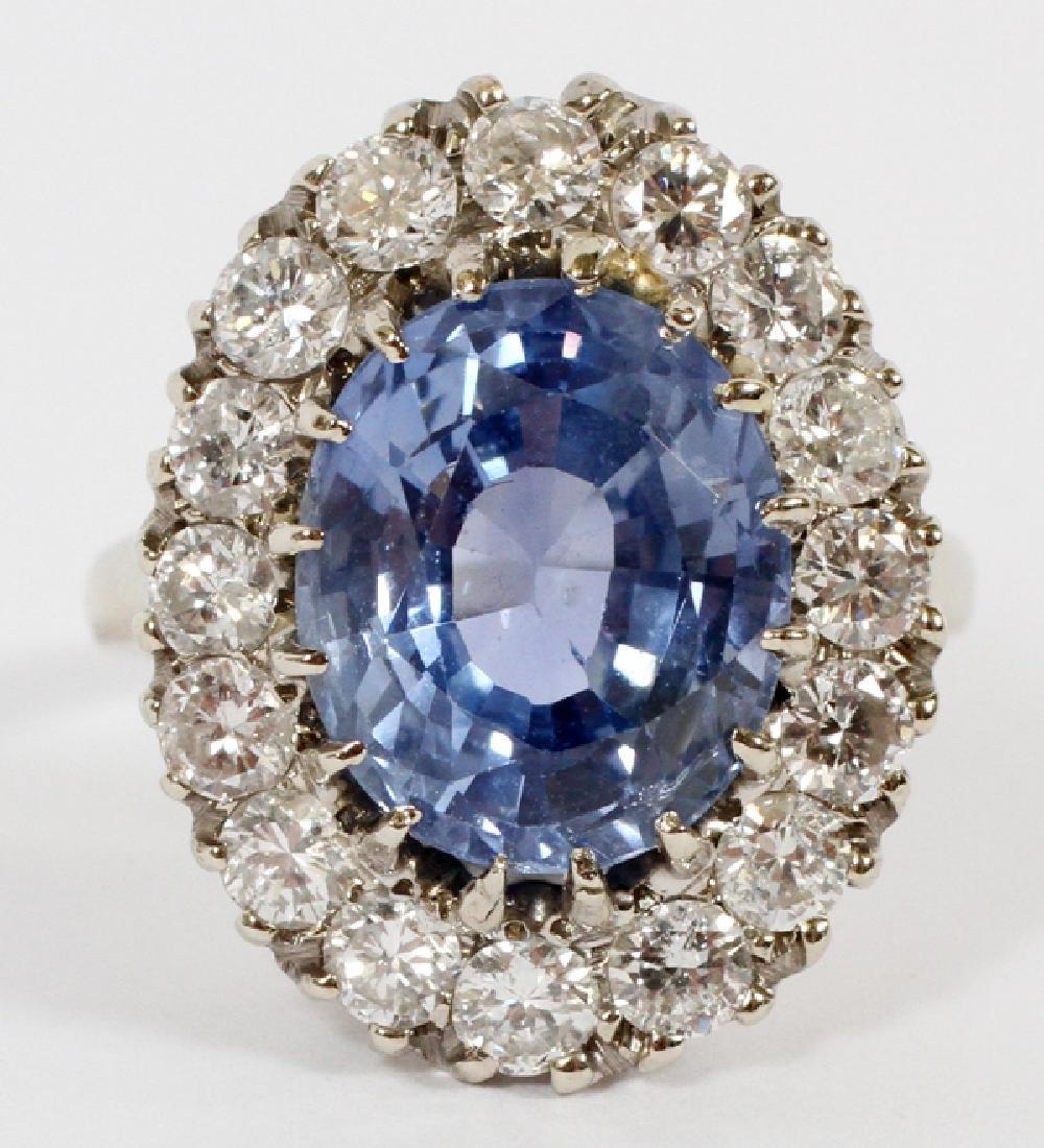 7.16 CT CEYLON SAPPHIRE & DIAMOND RING, SIZE 5.25