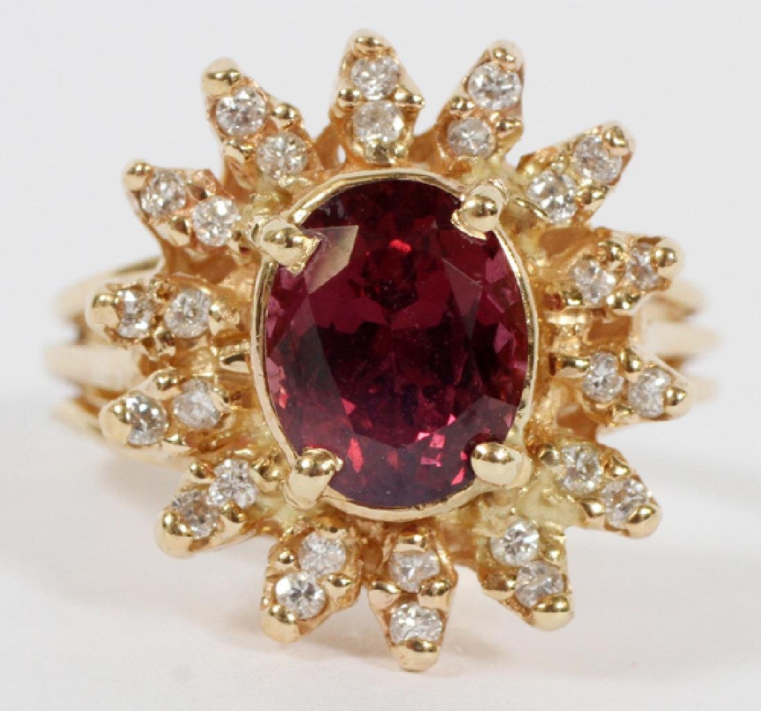 RED SPINEL & DIAMOND RING, SIZE 6