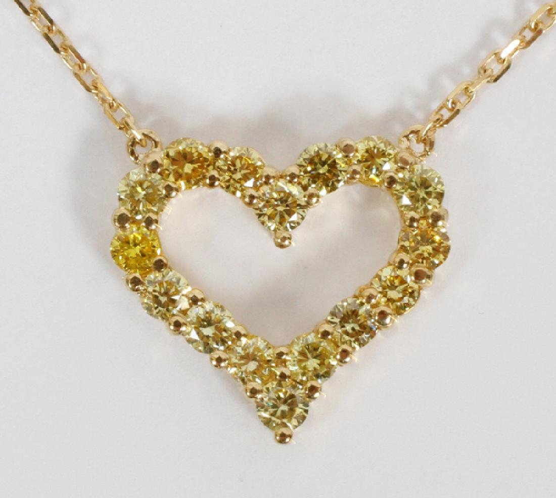 FANCY YELLOW DIAMOND & YELLOW GOLD HEART NECKLACE
