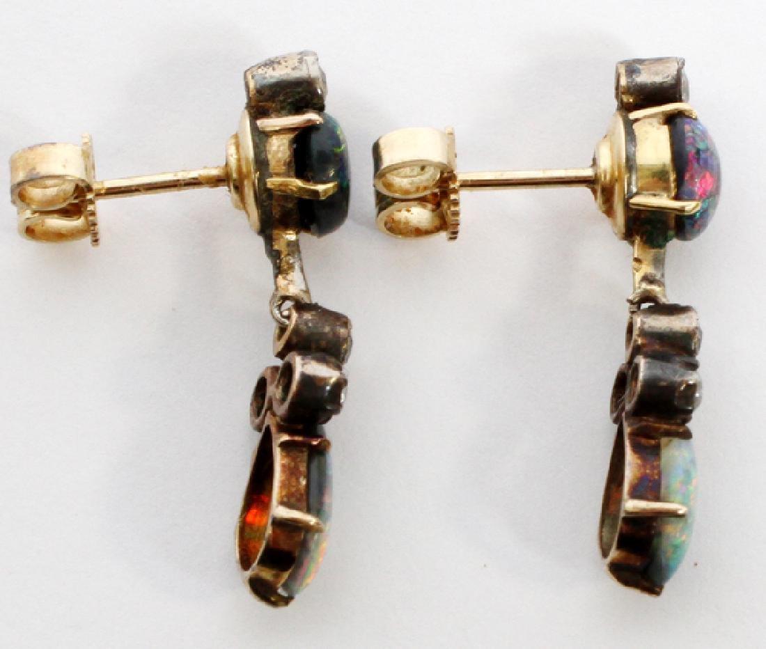 VINTAGE GOLD, MINE CUT DIAMOND & OPAL EARRINGS - 2