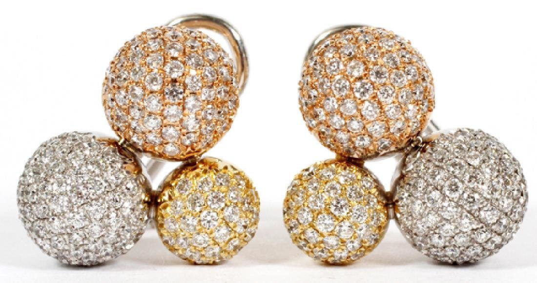 NATURAL DIAMOND & 18KT GOLD CLUSTER BALL EARRINGS