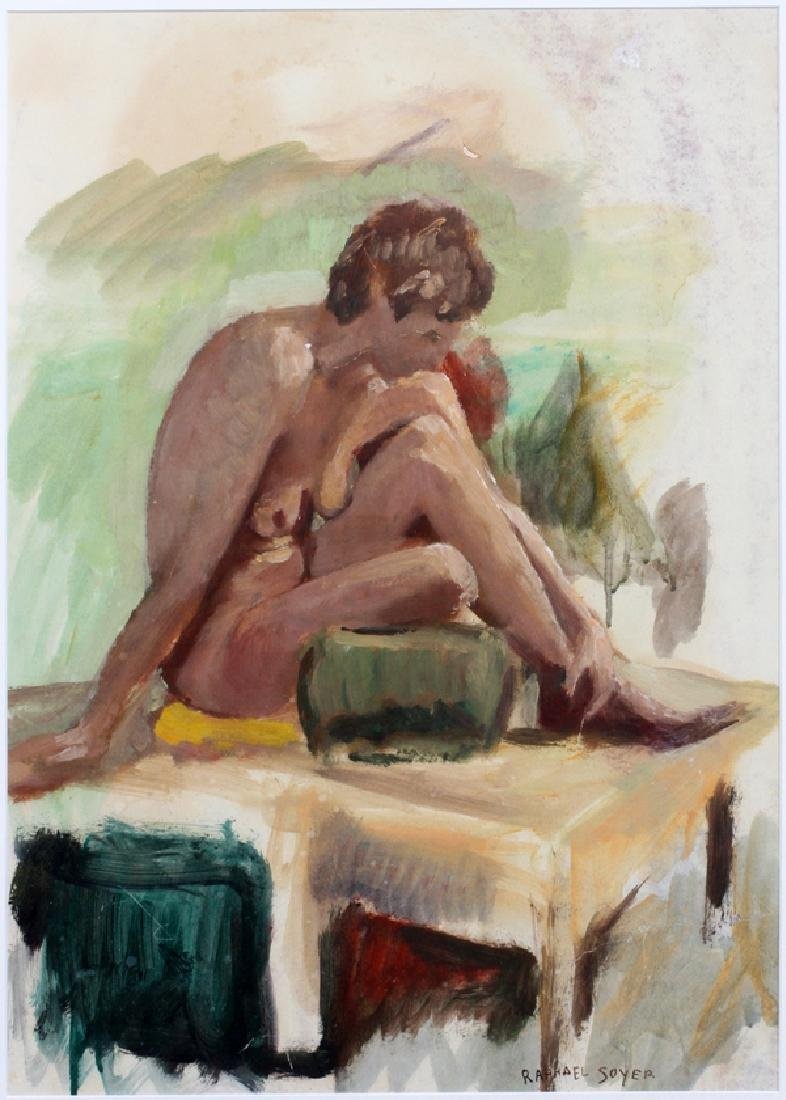 AFTER RAPHAEL SOYER PASTEL NUDE SEATED WOMAN