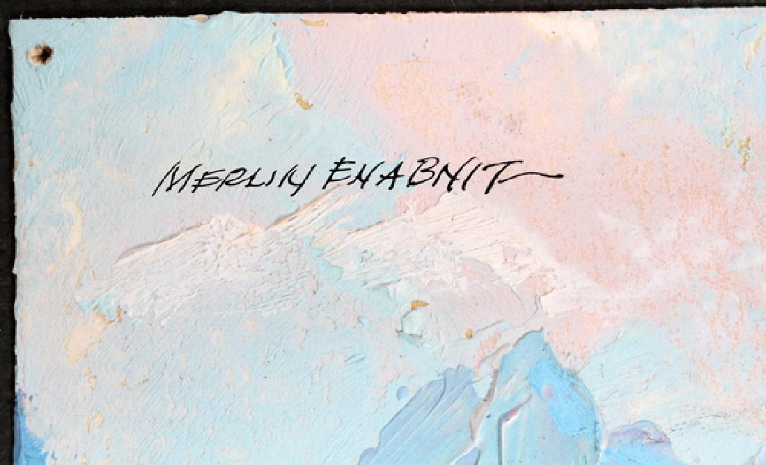MERLIN ENABNIT OIL ON PAPER MOUNTAIN LANDSCAPE - 2