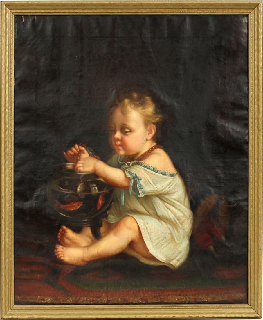 PRIMITIVE PORTRAIT OF CHILD OIL ON CANVAS 19TH.C.