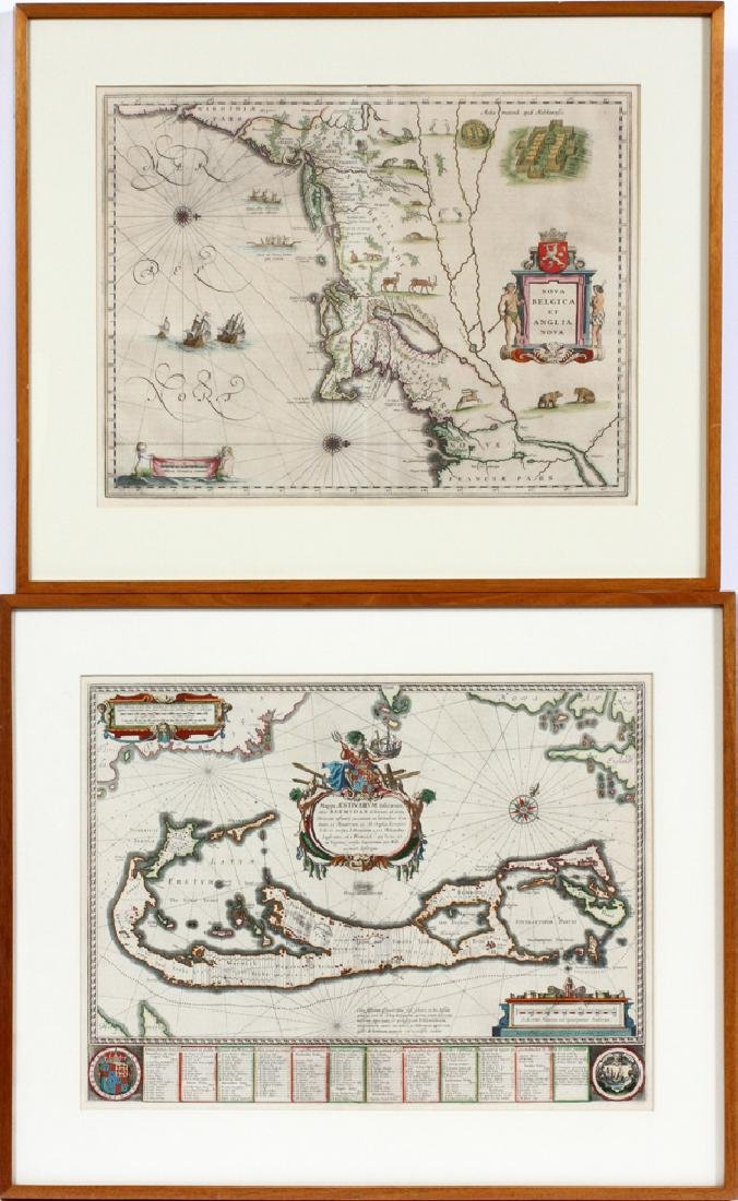 ATTRIBUTED TO WILLEN BLAEU 2 ENGRAVED MAPS