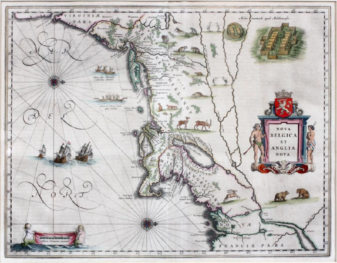 ATTRIBUTED TO WILLEN BLAEU 2 ENGRAVED MAPS - 2