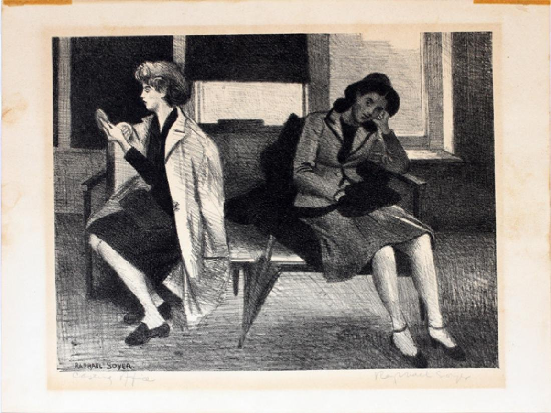 """RAPHAEL SOYER LITHOGRAPH 1945 """"CASTING OFFICE"""""""