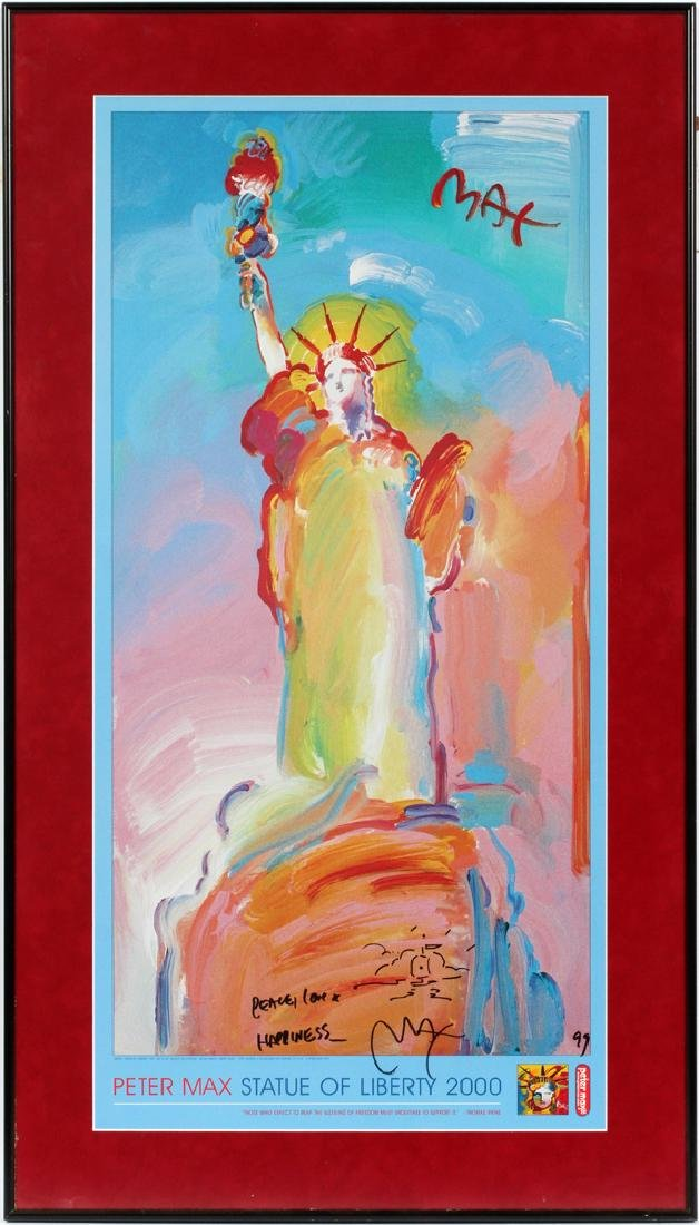 PETER MAX SIGNED POSTER, STATUE OF LIBERTY