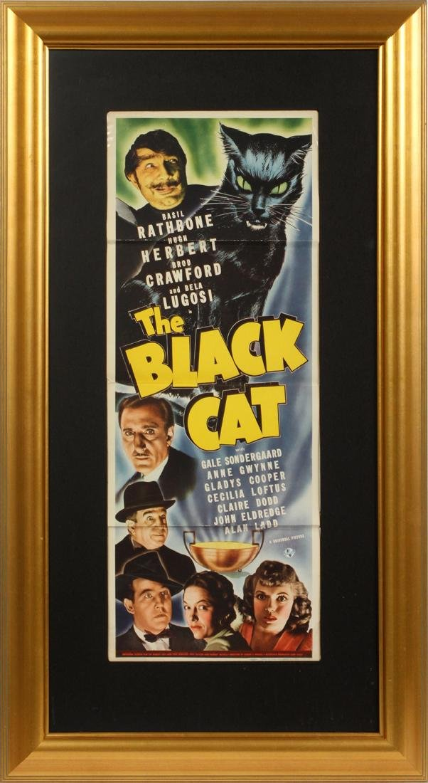 """""""THE BLACK CAT"""" MOVIE POSTER, H 34 1/2'', W 13''"""
