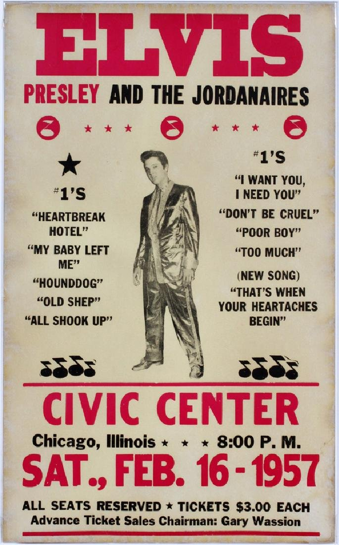 ELVIS & THE JORDANAIRES CONCERT POSTER, C. 1957