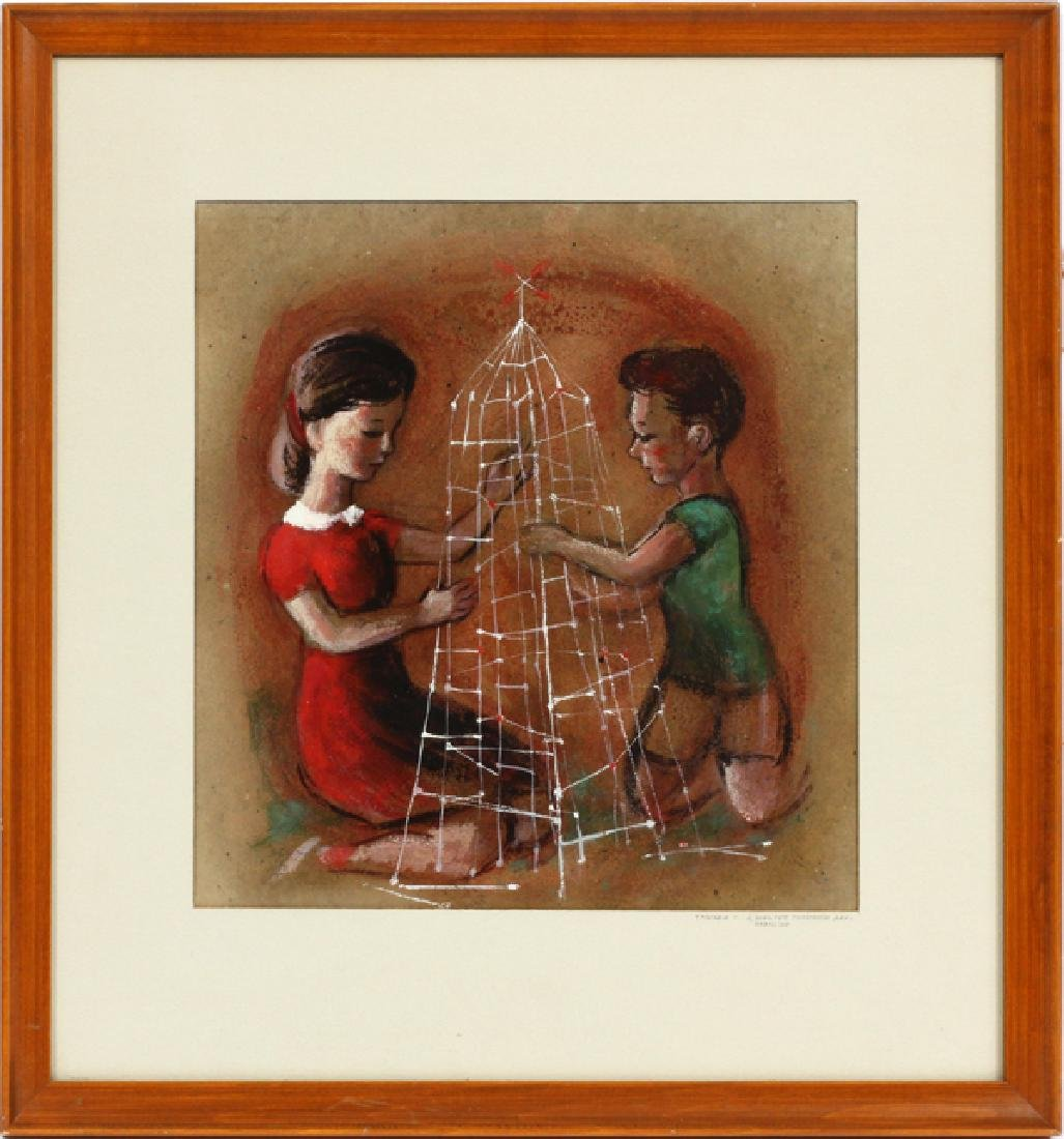 YAMADA MIXED MEDIA ON PAPER TWO CHILDREN - 2
