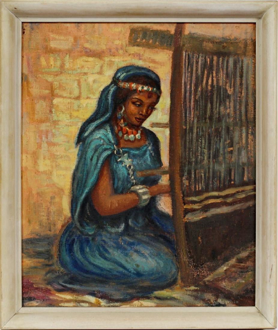 SOLANGE MONVAISON OIL ON MASONITE GIRL AT THE LOOM