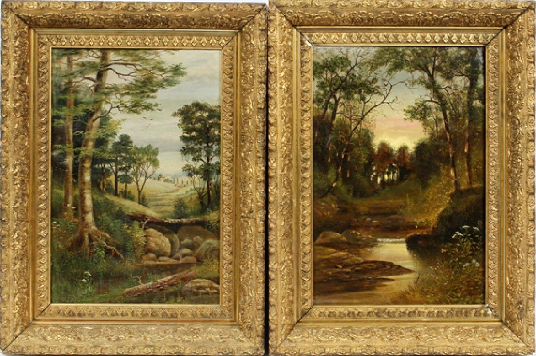 OILS ON CANVAS CIRCA 1880, TWO