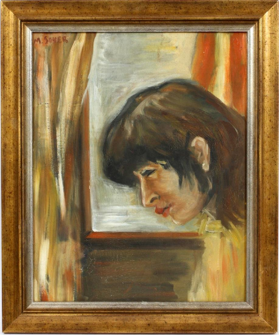 AFTER MOSES SOYER OIL ON CANVAS FEMALE PROFILE