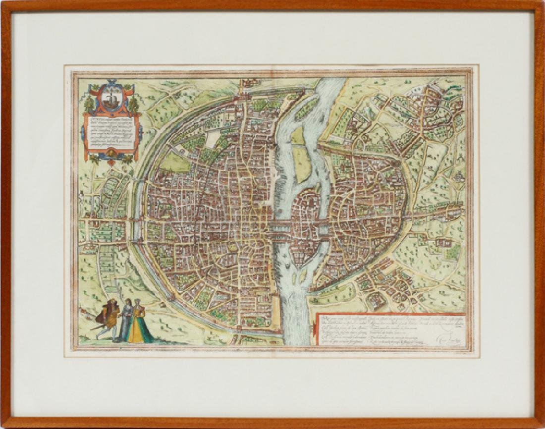 GEORG BRAUN & FRANS HOGENBERG HAND COLORED MAP - 2