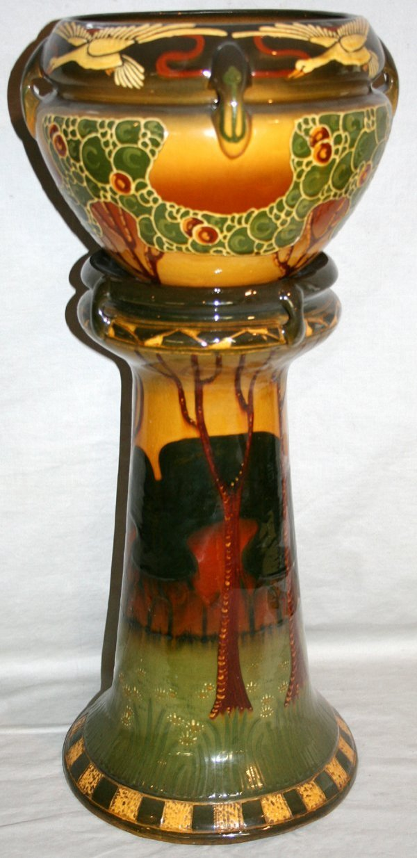 """020006: F. H. RHEAD WELLER POTTERY VASE & STAND, H25"""""""