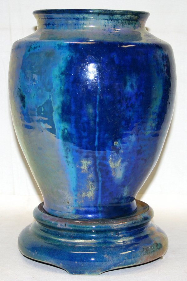 020011: PEWABIC POTTERY MULTI-COLOR BLUE VASE & STAND