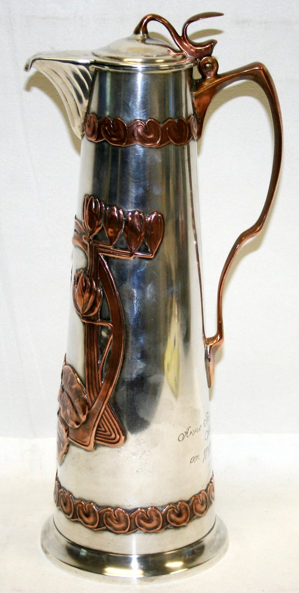 020013: RUSSIAN ART NOUVEAU STERLING PITCHER, 1910