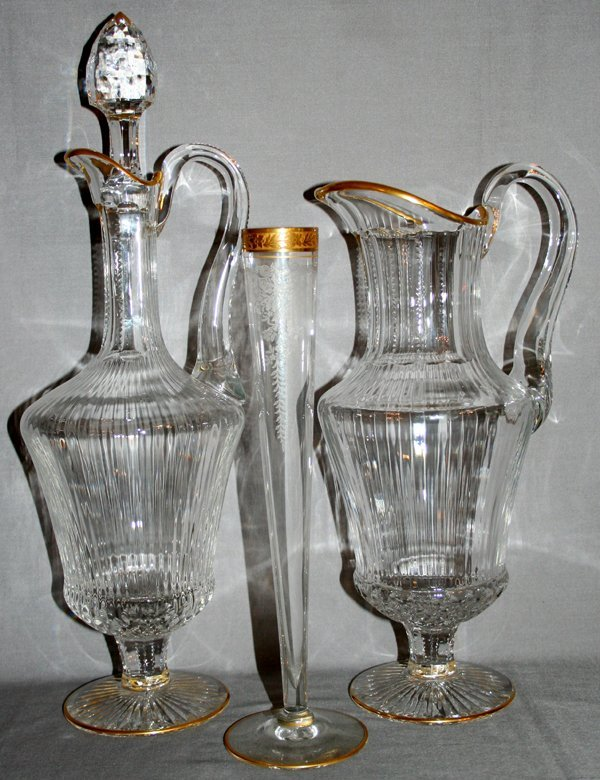 020015: ST. LOUIS 'APOLLO' CRYSTAL DECANTER, PITCHER